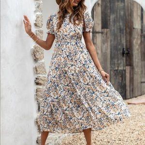 Boho floral print ruffle hem A line dress